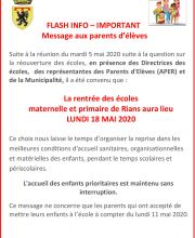 FLASH INFO écoles
